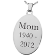 Wholesale Oval Flat Pendant with Text Engraving in sterling silver