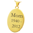Wholesale 14K Yellow Gold Oval Flat Pendant with Text Engraving
