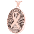 Oval Fingerprint Compartment Jewelry with Celtic Trinity Knot in rose gold