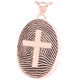 oval fingerprint compartment jewelry with cross in rose gold