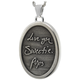Handwriting oval pendant in sterling silver holds ashes
