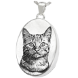 Oval Pet Photo Jewelry  ash holding silver