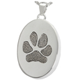 Silver Oval Actual Pawprint Jewelry with compartment