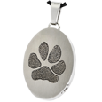 Stainless Steel Oval Actual Pawprint Jewelry with compartment