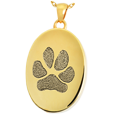 14k Yellow Gold Oval Actual Paw-print Jewelry with compartment