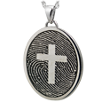 Wholesale Fingerprint with Cross Oval Jewelry in silver non ash holding