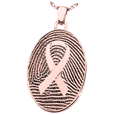 Awareness Ribbon Fingerprint Jewelry in rose gold