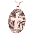 oval fingerprint jewelry with cross in rose gold