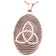 Oval Fingerprint Jewelry with Celtic Trinity Knot in rose gold