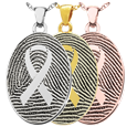 Awareness Ribbon Fingerprint Jewelry in silver, yellow and rose gold