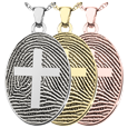 Flat Oval Fingerprint Jewelry with Cross in silver, yellow and rose gold