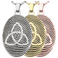 Oval Fingerprint Jewelry with Trinity in silver, yellow and rose gold