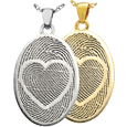 Oval Jewelry with 2 Fingerprints and Heart Design