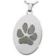 Silver flat Oval Actual Pawprint Jewelry