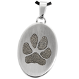 Stainless Steel Flat Oval Actual Pawprint Jewelry