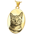 Oval Pet Photo Jewelry non ash holding yellow gold