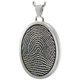 3D Fingerprint with Rim Oval Jewelry in silver ash holding