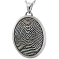3D Fingerprint with Rim Oval Jewelry in silver non ash holding