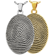 full coverage fingerprint shown on oval pendant