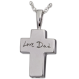 Silver Petite Cross Handwriting with chamber