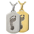 Petite Dog Tag Footprint Jewelry in silver or yellow gold