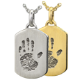 Petite Dog Tag Handprint Jewelry in silver or 14k gold