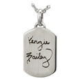 Wholesale Petite Flat Dog Tag Handwriting Jewelry in silver