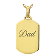 Wholesale 14K Yellow Gold Petite Dog Tag Jewelry with Text Engraving