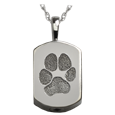 Wholesale Petite Dog Tag Pawprint Jewelry in silver with chamber