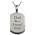 small silver dog tag engraved with custom text
