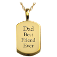 small gold dog tag engraved with custom text