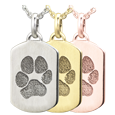 Petite Dog Tag Pawprint Jewelry in silver or gold