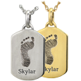 Petite Dog Tag engraved with Footprint and name
