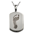 Wholesale Petite Dog Tag chamber Footprint Jewelry in silver