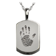 Wholesale Petite Dog Tag Handprint Jewelry with chamber in silver