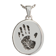 silver mini oval urn jewelry with engraved handprint