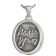 sterling silver petite oval chamber charm engraved with 3D handwriting