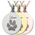 Wholesale Mini Oval Paw-print Flat Charm in silver and gold