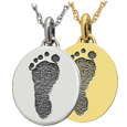 Wholesale Petite Oval with Footprint in silver or gold metals