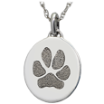 Petite Oval Pawprint Silver Jewelry