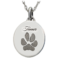 Oval Paw Print Silver Personalized Jewelry with engraved name