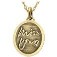 gold petite oval pendant personalized with 3D handwriting