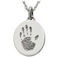 Wholesale Mini Oval Handprint Jewelry in silver and no compartment