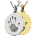 Wholesale Mini Oval Handprint Jewelry in silver or gold