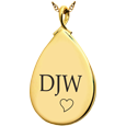 Wholesale 14K Yellow Gold Teardrop Flat with Text Engraving