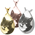 custom pet photo engraved onto teardrop pendant