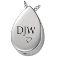 Wholesale Teardrop with Text Engraving in ash holding silver