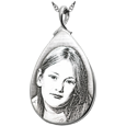 silver teardrop pendant laser engraved with photo