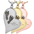 footprint jewelry with engraved name and dates