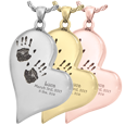 Teardrop Heart engraved with 2 Handprints Jewelry